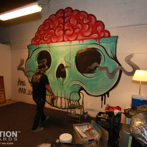Shop friend Erik Arenas aka ALUK working on the live mural in the T//F lounge